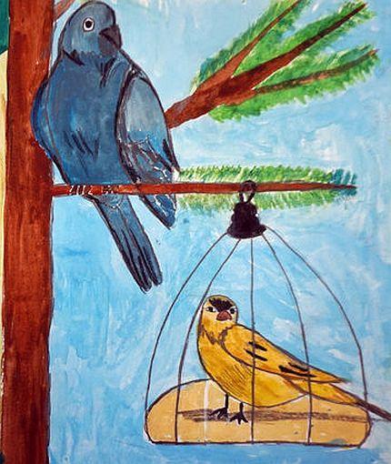 Чиж и голубь басня крылова картинки к басням крылова